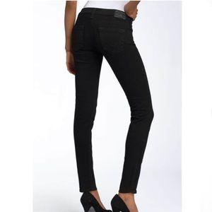 True Religion distressed black jeans w/ zippers